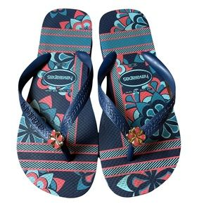 Havaianas Blue Floral Flip Flops with Flower Charm Size 11